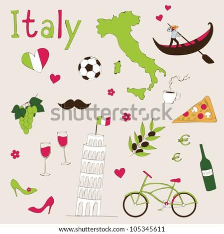 Italy - landmarks and symbols - stock vector