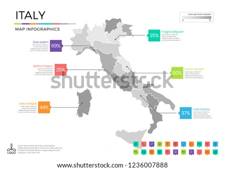 italy map infographics with