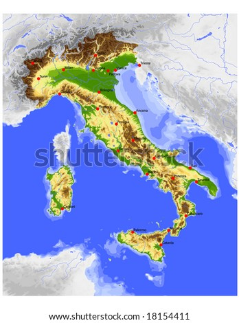 Italy. Physical vector map, colored according to elevation, with rivers, ocean depths and selected cities. Surrounding territory greyed out. 39 layers, fully editable. Data source: NASA
