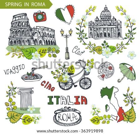 italy rome famous landmarks...