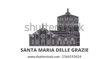 Italy, Santa Maria Delle Grazie flat travel skyline set. Italy, Santa Maria Delle Grazie black city vector illustration, symbol, travel sights, landmarks.