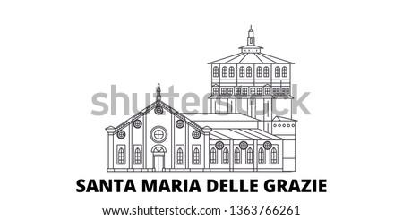 Italy, Santa Maria Delle Grazie line travel skyline set. Italy, Santa Maria Delle Grazie outline city vector illustration, symbol, travel sights, landmarks.