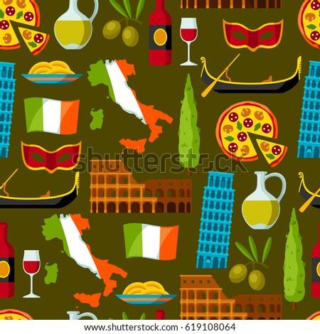 Royalty Free Italy Italian Culture Vector Set 435896983 Stock