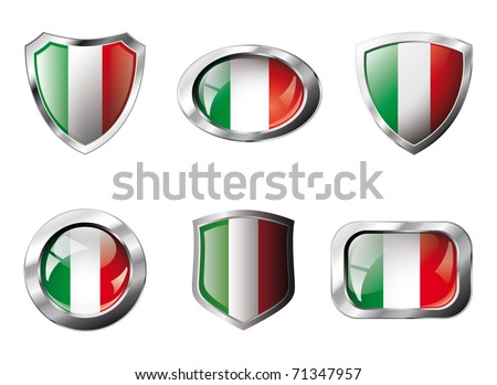Italy set shiny buttons and shields of flag with metal frame - vector illustration. Isolated abstract object against white background. - stock vector
