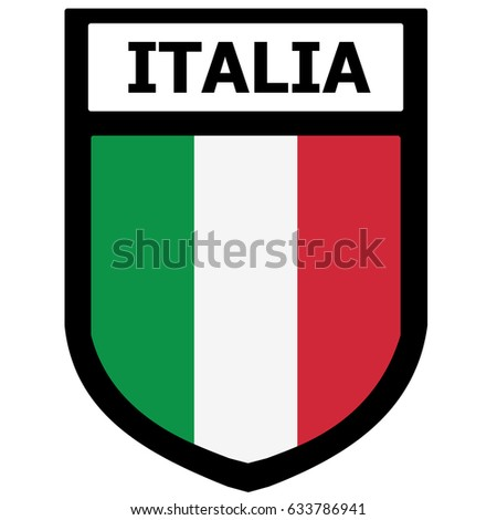 Italy Shield Patch With National Flag. Vector.