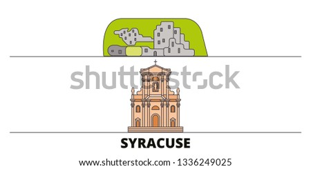 Italy, Syracuse City flat landmarks vector illustration. Italy, Syracuse City line city with famous travel sights, design skyline.