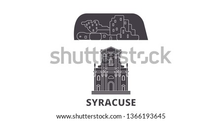 Italy, Syracuse City flat travel skyline set. Italy, Syracuse City black city vector illustration, symbol, travel sights, landmarks.