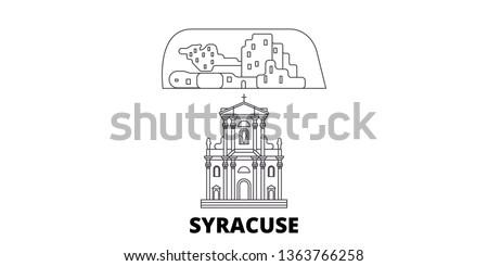 Italy, Syracuse City line travel skyline set. Italy, Syracuse City outline city vector illustration, symbol, travel sights, landmarks.