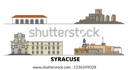 Italy, Syracuse flat landmarks vector illustration. Italy, Syracuse line city with famous travel sights, design skyline.