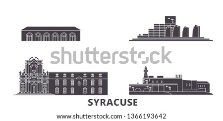 Italy, Syracuse flat travel skyline set. Italy, Syracuse black city vector illustration, symbol, travel sights, landmarks.