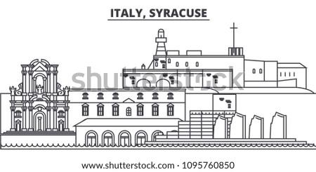 Italy, Syracuse line skyline vector illustration. Italy, Syracuse linear cityscape with famous landmarks, city sights, vector landscape.