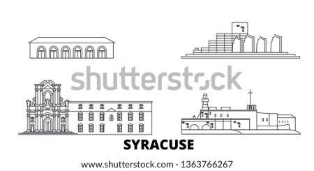 Italy, Syracuse line travel skyline set. Italy, Syracuse outline city vector illustration, symbol, travel sights, landmarks.