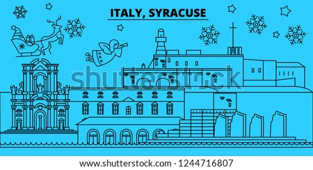 Italy, Syracuse winter holidays skyline. Merry Christmas, Happy New Year decorated banner with Santa Claus.Italy, Syracuse linear christmas city vector flat illustration