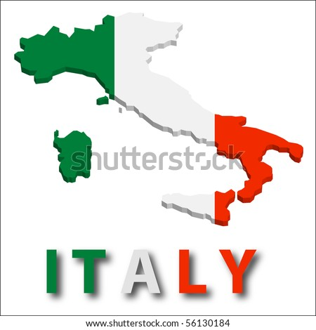 Italy territory with flag texture.