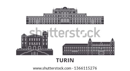 Italy, Turin, Residences Of The Royal House Of Savoy flat travel skyline set. Italy, Turin, Residences Of The Royal House Of Savoy black city vector illustration, symbol, travel sights, landmarks.