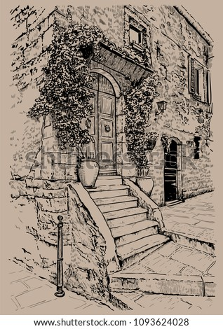 Italy, Tuscany. Old stone house. Digital Sketch Hand Drawing Vector. Illustration.