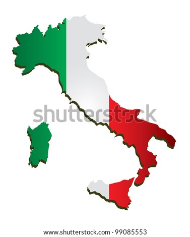 Italy vector map with flag
