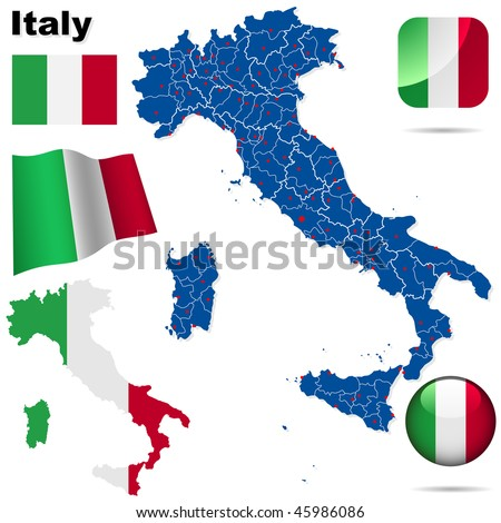 Italy vector set. Detailed country shape with region and provinces borders, flags and icons isolated on white background.