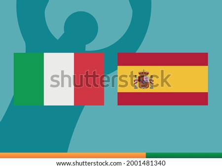 Italy vs Spain. Poster of a football match between the national teams of Italy and Spain. Vector.
