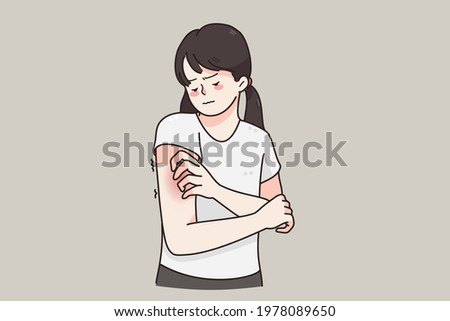 Itchy skin, allergy, skin problems concept. Young frustrated girl cartoon character standing touching red damaged skin over grey background vector illustration