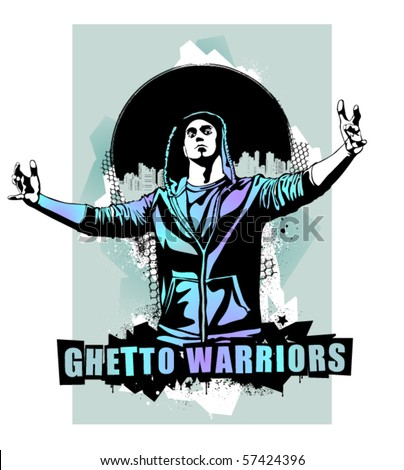 Item from Ghetto Warriors vector collection. Gangster on dirty graffiti background. Vector illustration.
