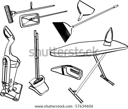 Items for household chores - stock vector