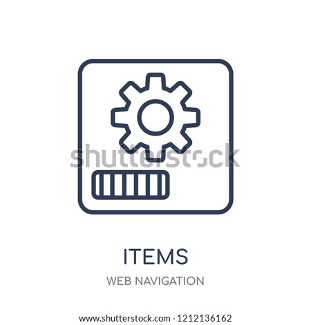 Items icon. Items linear symbol design from Web navigation collection. Simple outline element vector illustration on white background.