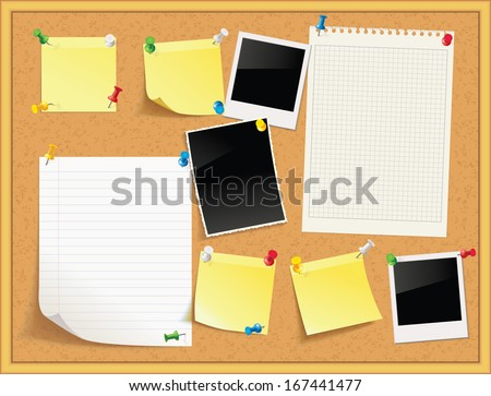 Items pinned to a cork message board with wood frame, ready for your customized text or images. Yellow stick note. Blank worksheet exercise book. Empty shiny photo frame. Vector illustration. Set
