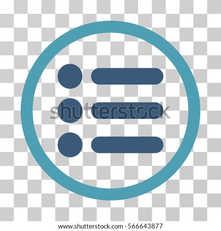 Items rounded icon. Vector illustration style is flat iconic bicolor symbol inside a circle, cyan and blue colors, transparent background. Designed for web and software interfaces.