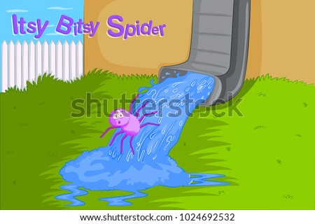Itsy Bitsy Spider, Kids English Nursery Rhymes book illustration in vector