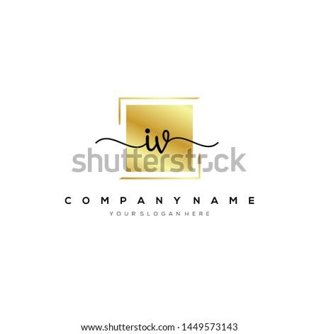 iv handwriting initial logo