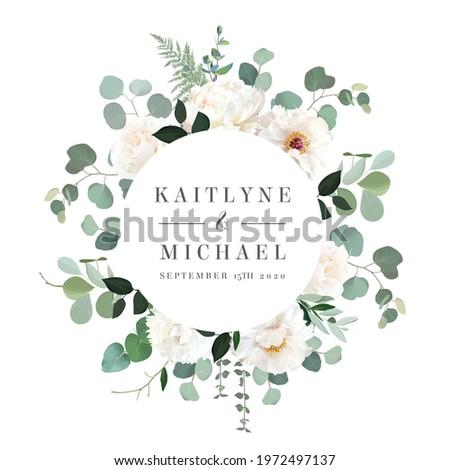 Ivory beige rose, white and creamy woody peony, chrysanthemum flower vector design wedding round frame. Eucalyptus, greenery. Floral watercolor style. Spring wreath.Elements are isolated and editable