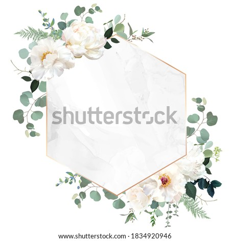 Ivory beige rose, white peony, ranunculus flowers, sage green eucalyptus, vector design marble frame. Textured card. Eucalyptus, greenery. Floral geometric style. Elements are isolated and editable