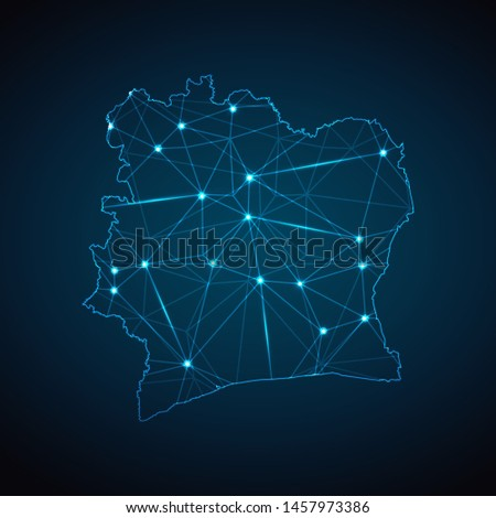 Ivory Coast Map - Abstract geometric mesh polygonal network line, structure and point scales on dark background with lights in the form of cities. Vector illustration eps 10.