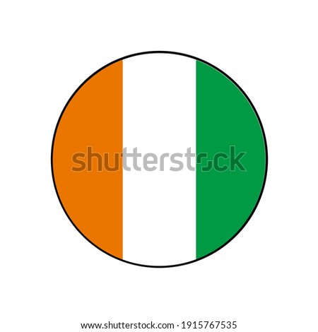 Ivory Coast or Cote d'ivoire circle vector flag with orange, white and green vertical stripes for African push button concepts. Photo stock ©