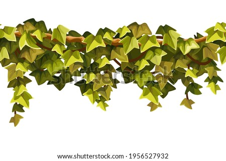 Ivy seamless border. Liana branches and tropical leaves. Game cartoon element of creeper jungle. Isolated vector illustration on white background.