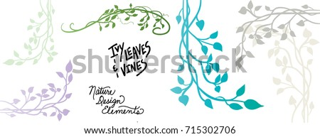 ivy vine silhouette vector, elegant decorative border and corner design element of leaves in pretty layout