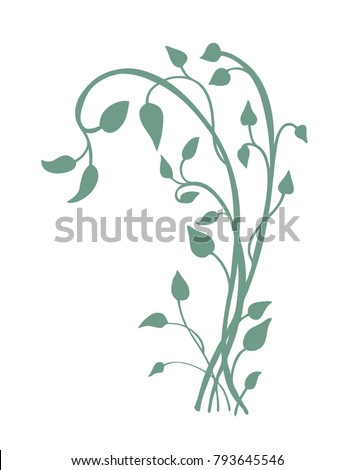 ivy vine silhouette vector, elegant decorative border and corner design element of leaves in pretty graceful layout isolated on white background