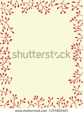 ivy vines in red border on yellow background in Christmas or nature design, pretty plants frame the border in hand drawn leaves #1295802601