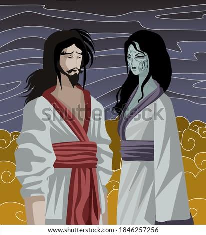 izanami and izanagi japan mythology tale in the underworld Photo stock ©