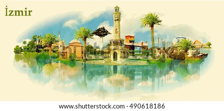 izmir city water color vector