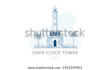 Izmir Clock Tower. The famous landmark of Izmir, tourists attraction place, skyline vector illustration, line graphics for web pages, mobile apps and polygraphy. Zdjęcia stock ©