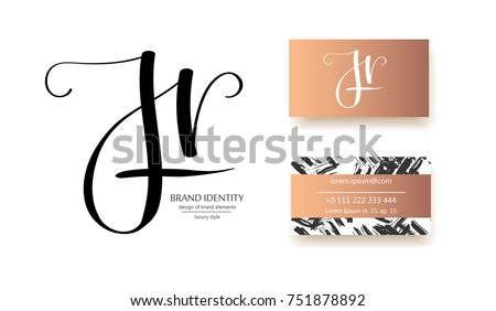 J H And R Letters Combination Logo Company Brand Identity Hand Calligraphy