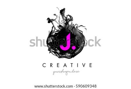 j letter logo design with ink