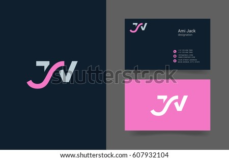 J & V Letter logo, with Business card template Stock fotó ©