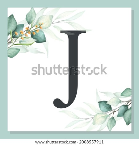 J - Watercolor delicate alphabet with green leaf. Foto stock ©