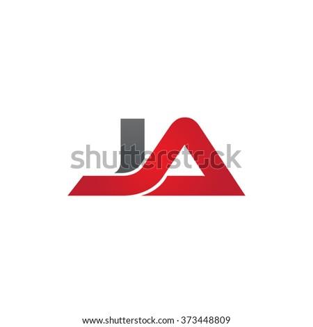 JA company linked letter logo black red