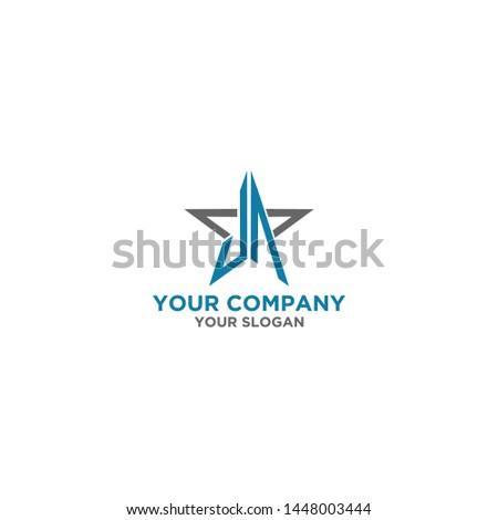 JA in Star Logo Design Vector