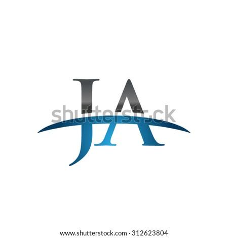 JA initial company blue swoosh logo
