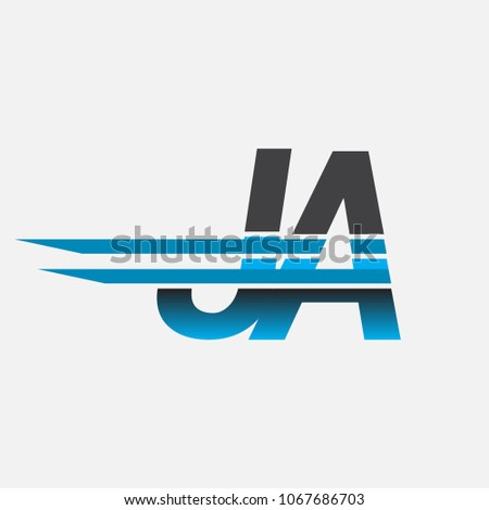 JA initial logo company name colored black and blue, Simple and Modern Logo Design.